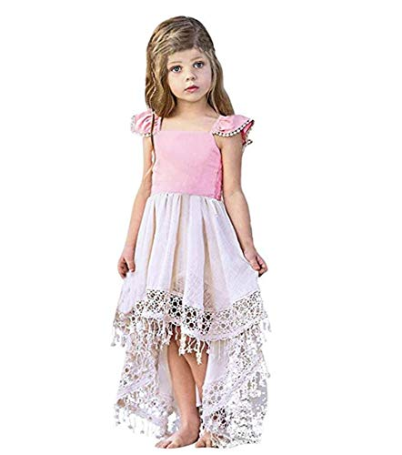 - Little Girl Pageant Fancy Wedding Bridesmaid Tail Gown Formal Tassel Irregular Hem Princess Maxi Dresses Pink