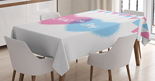 Gender Reveal Decorations Tablecloth by Ambesonne, Girl and Boy Hearts Flags Celebration for Newborn Family, Dining Room Kitchen Rectangular Table Cover, 60 W X 84 L Inches, Light Pink and Blue