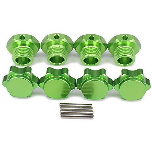 Dabixx Wheel Hex Hub Nuts, 4Pieces 1/8 HSP 17mm Wheel Hex Hub Extension Adapter Alloy for RC Car Accessories - Green