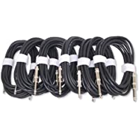 GLS Audio 12ft Patch Cable Cords - 1/4 TS To 1/4 TS Shielded Unbalanced Black Cables - 12 Mono Snake Cord - 6 PACK