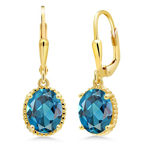 Gem Stone King 3.60 Ct Oval London Blue Topaz 18K Yellow Gold Plated Silver 27mm Length Dangle Earrings