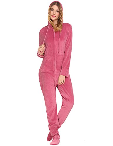HOTOUCH Women's Plush Warm and Cozy Character Adult Onesie / Pajamas / Onesie Paste Red XL