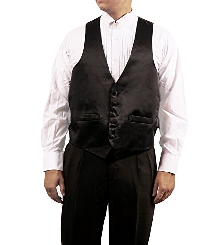 [Men's Black 5 Button Shiny Dress Vest Black for Suit Separate or Tuxedo (medium-38R)] (Father Of The Year Costume)