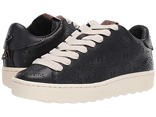 Low Leather Sneakers - Coach Women's C101 Low Top Sneaker with Cut Out Tea Rose - Leather Black 7.5 B US