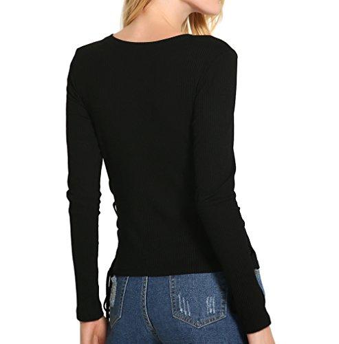 Feicuan Mujer algodón Cuello Redondo de Blusa Knitted manga larga Casual Tops -C05 Black