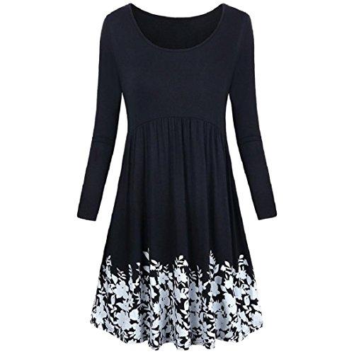 Damen KleiderPAOLIAN Frauen Tunika TShirt Kleid mit Taschen Langarm ...