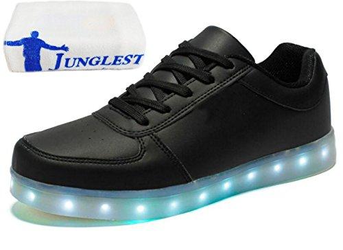 (Present:kleines Handtuch)JUNGLEST 7 Farbe USB Aufladen LED Leuchtend Sport Schuhe Sportschuhe Sneaker Turnschuhe für Unisex Erwach Schwarz