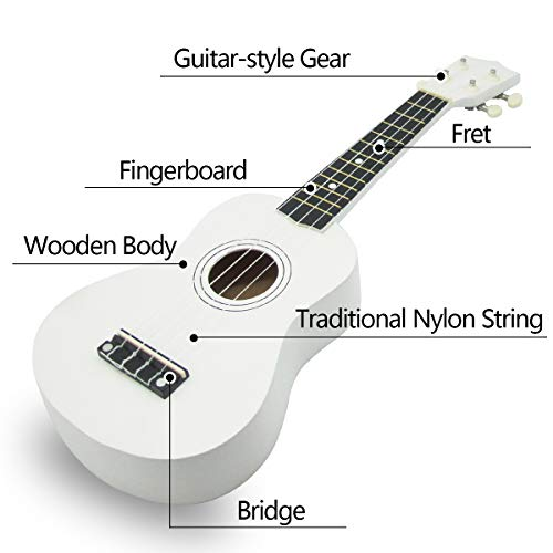 Wooden Ukulele 21 Inch Soprano Hawaiian Guitar Basswood Small Guitar for Beginner (White)