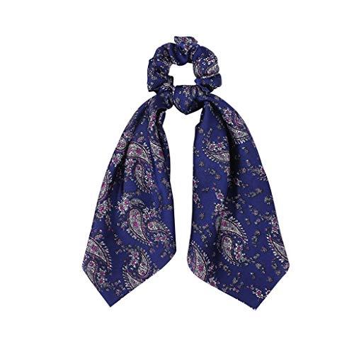 Landscap Hair Scrunchies Satin Silk Elastic Hair Bands Hair Scarf Ponytail Vintage Accessories for Women Girls(F,onesize)