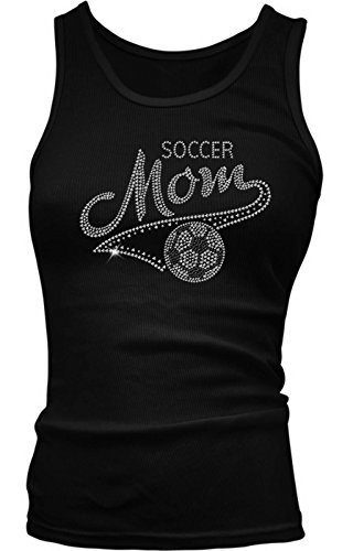 Soccer Mom - Mother's Day Girls / Juniors Tank Top T-shirt (Medium, BLACK)
