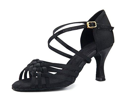 Miyoopark Dames Dames Knoop Knoop Satijn Ballroom Latin Dansschoenen Bruiloft Sandalen Zwart-7.5cm Hak