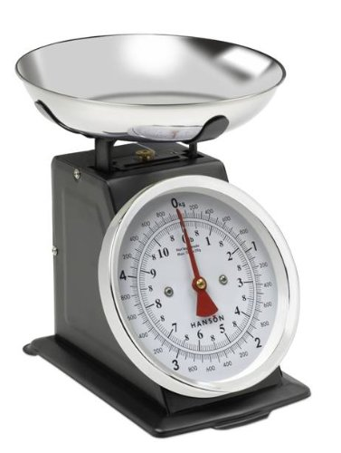 Hanson Traditional Metal Upright Scale with Stainless Steel Bowl, 5KG, Black