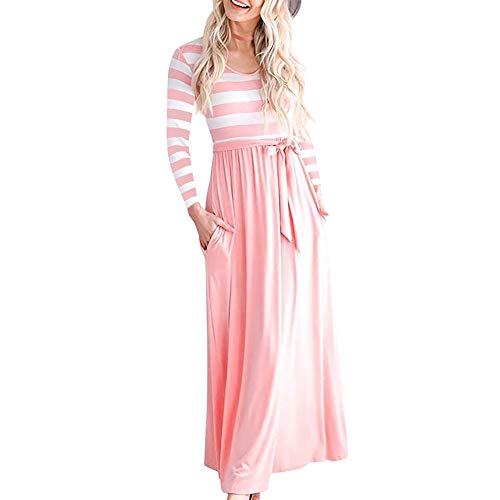 PESION Women's Striped Print Long Sleeve Tie Waist Maxi Dress with Pockets Pink