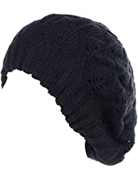 Winter Chic Warm Double Layer Leafy Cutout Crochet Chunky Knit Slouchy  Beret Beanie Hat Solid 4dd14cf60561