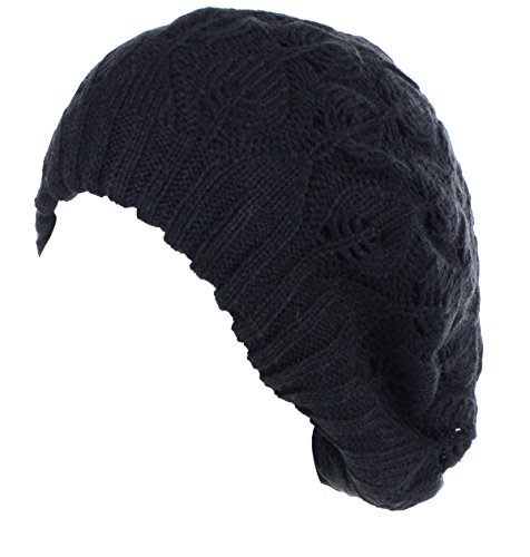 - BYOS Winter Chic Warm Double Layer Leafy Cutout Crochet Knit Slouchy Beret Beanie Hat (Black Leafy)