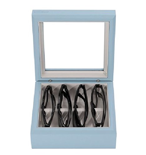 OYOBox Luxury Eyeglasses Eye Wear MIni Pastel Dove Blue Lacquer Finish Wooden Organizer Box by OYOBox