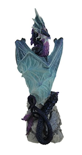 Veronese Resin Statues Andrew Bill Silent Watcher Hand Painted Indigo Dragon Statue 3 X 10.25 X 3.5 Inches Multicolored