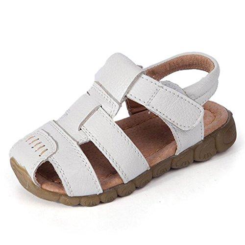 hibote Mode Sommer Weich Leder Zehensandale Baby Jungen Prewalker Weich Sole Genuine Leder Beiläufig Draussen Sandalen Weiß