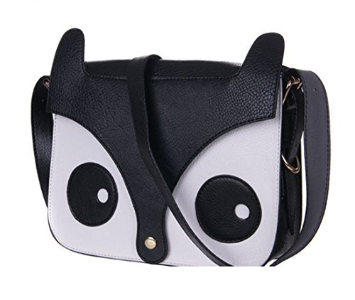 Cute Fox Owl Retro Shoulder Messenger Bag Pu Leather Crossbody Satchel Small Handbag (Black)