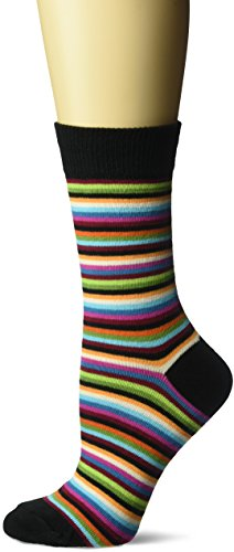 Hot Sox Women's Originals Classics Novelty Crew Socks, Stripe (Black), Shoe Size: 4-10