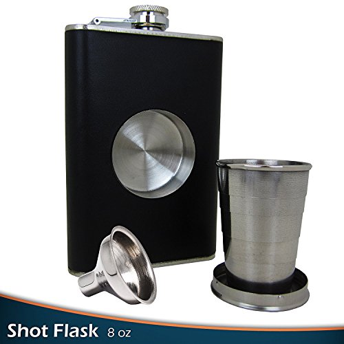 Gotrone Original Shot Flask Set (8oz) - Including a Built-in 2oz Collapsible Shot Glass & With an Extra Free Bonus Gift: Flask Funnel - Stainless Steel Hip Flask - 100% Satisfaction Guarantee ()
