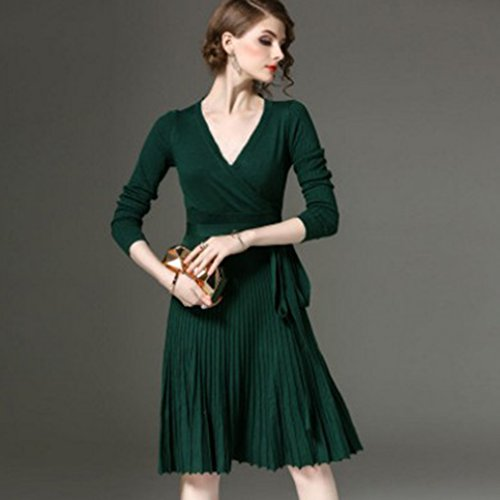 Silk Pleated Dress (GUAngqi Women Sexy Long-sleeved V-neckline Women Dress Knee-Length Elegant Bow Pleated Waist Pleated Knitted Party Dress ,Dark green)