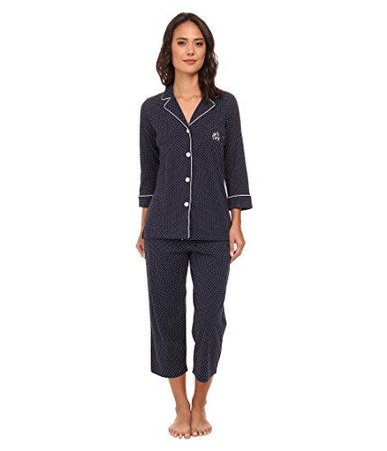Lauren Ralph Lauren Women's Essentials Bingham Knits Capri PJ Set Madeleine Dot Windsor Navy/White Large