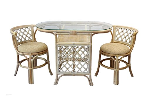 Rich Dining Furniture Set 2 Chairs with Cushion Oval Dining Rattan Table With Glass. Color Cream