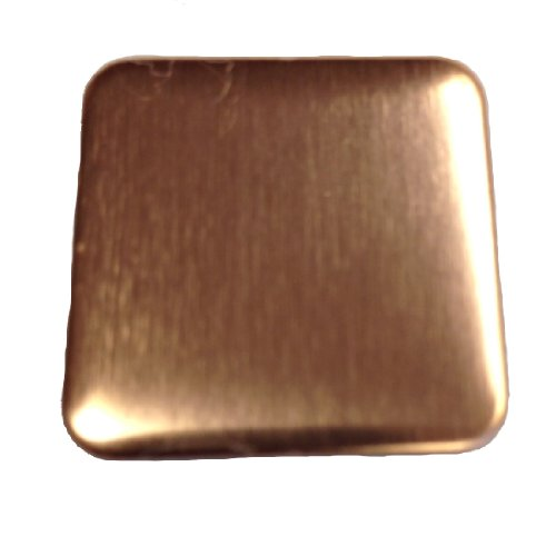 Square Copper Corners - RMP Stamping Blanks, 1 Inch Square with Rounded Corners, 16 oz. Copper 0.021 Inch (24 Ga.) - 10 Pack