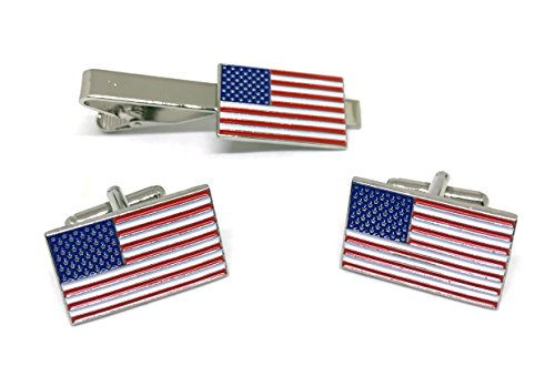 Official American Flag Tie Bar - USA Tie Clip - Cufflinks United State
