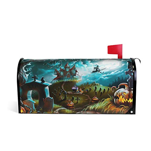 Fengye Magic Halloween Ghost Castle Pumpkin Mailbox Magnetic Cover Medium Large Capacity Post Box Covers 20.8 x 18 inch -