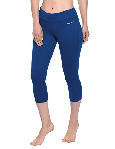 Baleaf Women's Yoga Capri Pants Workout Running Legging with Inner Pocket Non See Through Estate Blue Size M