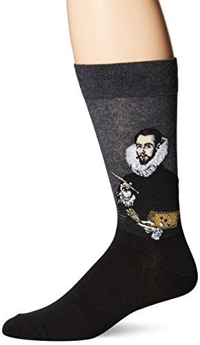 Son Portrait - Hot Sox Men's Artist Series Crew Socks, Portrait of the Artist'S Son (Charcoal), Shoe Size:6-12 / Sock Size: 10-13