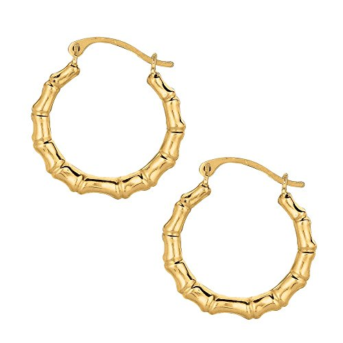 Jewelryweb Solid 10k Yellow Gold Small Bamboo Hoop Earrings (2mm x 15mm)