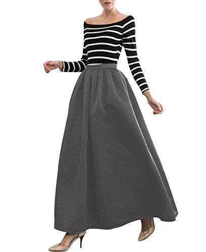 CoutureBridal Femme Jupe Longue Jupe Elgante Jupe pour Soire Satin 100cm Gris