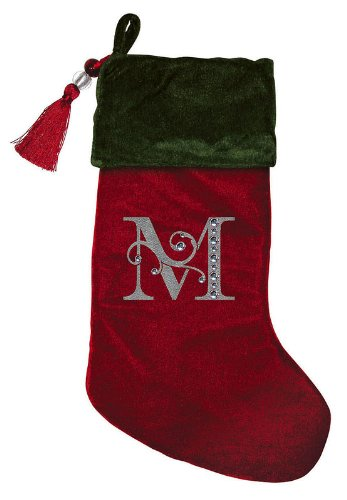 christmas stocking red green velvet with tassel rhinestone monogram m - Red And Green Christmas Stockings