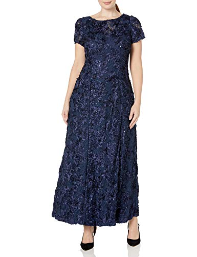 Alex Evenings Women's Plus-Size Long A-line Rosette Dress with Short Sleeves, Navy, 16W