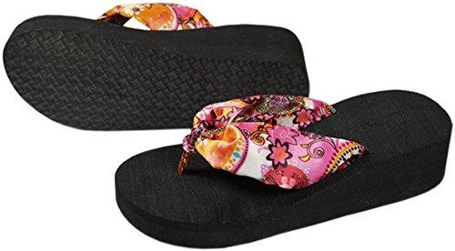 Bettyhome Vrouwen Bohemien Stijl Satijn Multicolor Slipper Toevallige Sleehakken Sandalen Strand Slippers Slippers Zwart