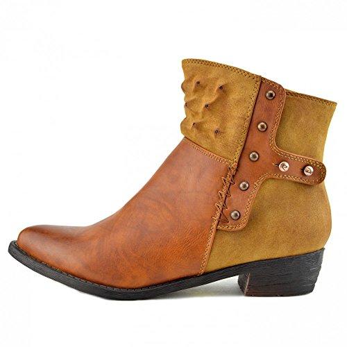 Ankle Nuovo Footwear Chelsea Boots Di Kick Alto Scarpe Tan Tacco Metà Delle Ladies Donne Casual Tacchi Il Occidentali P8dw8Hqv