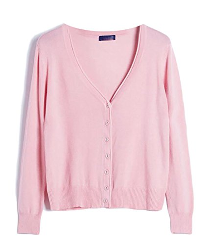 Hokny TD Womens Comfy Button Down Long Sleeve Basic Knitted Cardigan Sweater Pink S