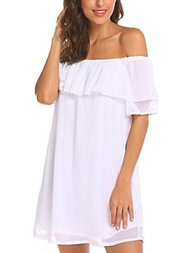 Womens Off Shoulder Chiffon Ruffles Shift Loose Mini Dress