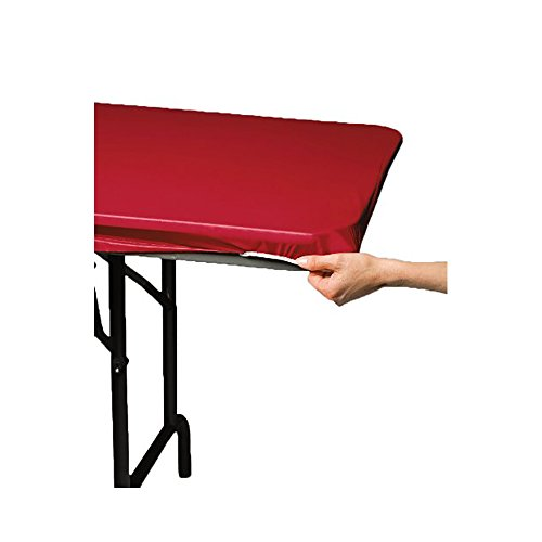 Set of 2 Creative Converting 29 x 72 inches Regal Red Plastic Stay Put Banquet Table Cover]()