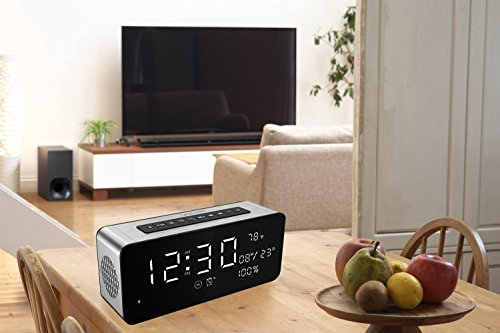 Orionstar Wireless Bluetooth Alarm Clock Radio Speaker with HD Sound & Big Digital Screen Showing Time/Date, Compatible with iPhone/Android/PC4/Aux/MicroSD/TF/USB, for Bedroom Office, Model A10 Silver by Orionstar (Image #7)