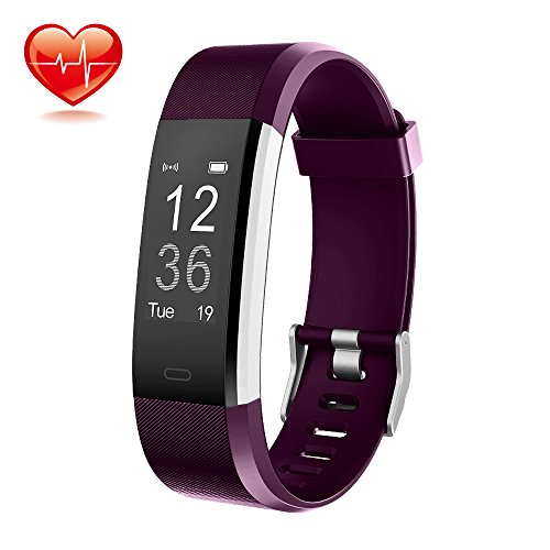 Fitness Trackers, Vanzon Activity Tracker Pedometer Smart Watch with Heart Rate Monito for Android and iOS Smartphones ,Great Christmas Gifts for Kids Women and Men - Purple