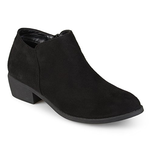 Journee Collection Women's Faux Suede Heeled Booties Black, 10 Wide Width US