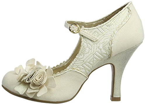 Ruby Shoo Emily Cream Gold Mujeres Hi Heels Court Zapatos