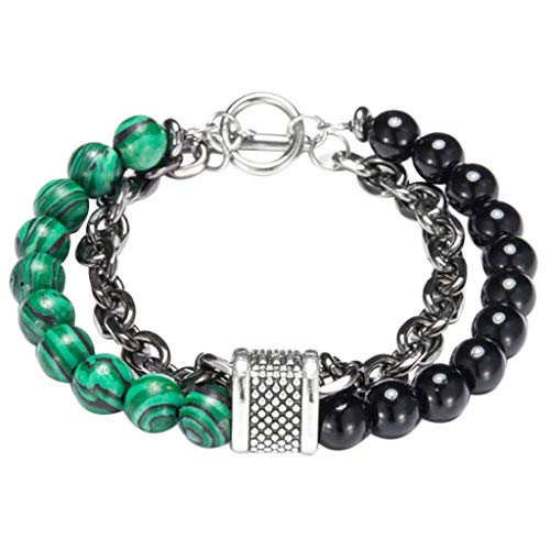 - FEDULK Men Fashion Clash Double Layer Bracelet Beaded Cuff Individuality Punk Charm Bangle Bracelet(A)