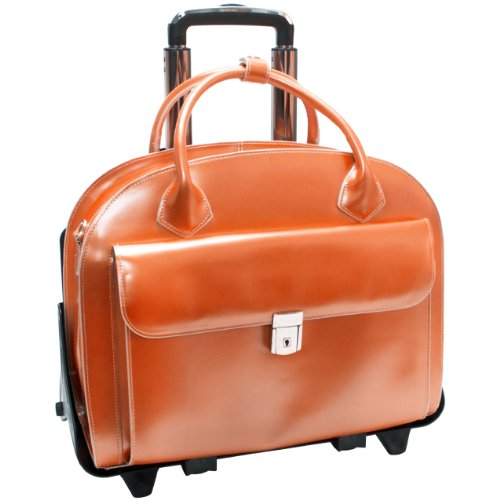 McKleinUSA GLEN ELLYN 94360 Orange Leather Detachable-Wheeled Women's Case