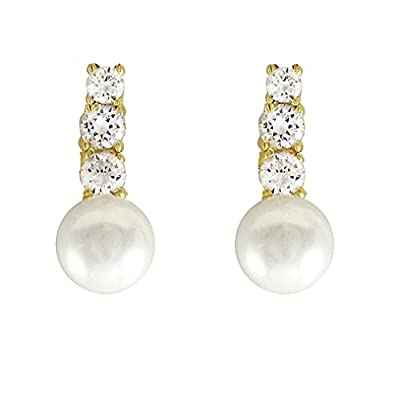 14K Gold AAA Cultured Freshwater Pearls CZ Accent Earrings (10-11mm)