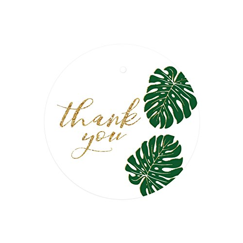 rcle Gift Tags, Faux Gold Glitter Monstera Palm Tree Leaves, Thank You, 24-Pack, Colored Party Favors and Decorations (Palm Tags)